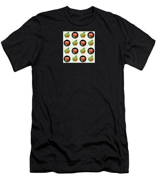 Divided Apple Pattern Men's T-Shirt (Athletic Fit)