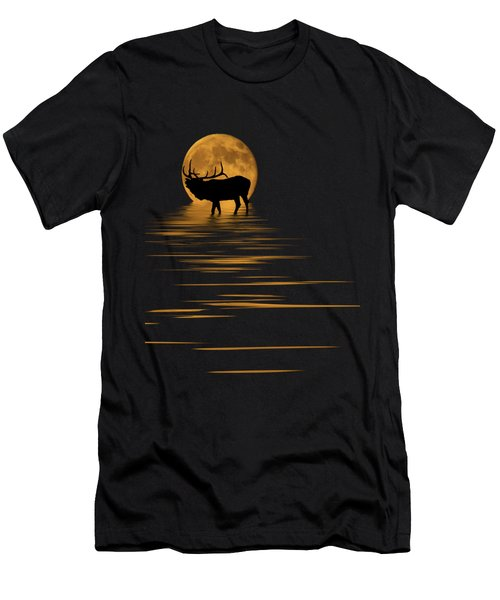 Elk In The Moonlight Men's T-Shirt (Slim Fit) by Shane Bechler