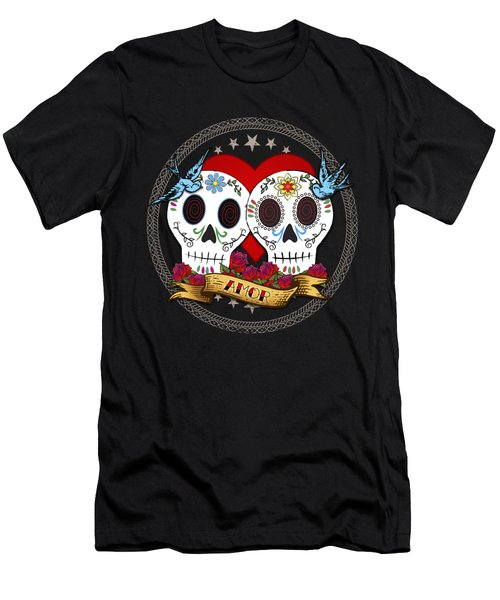 Love Skulls II Men's T-Shirt (Slim Fit) by Tammy Wetzel