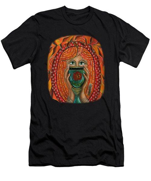 Men's T-Shirt (Slim Fit) featuring the painting OM by Deborha Kerr