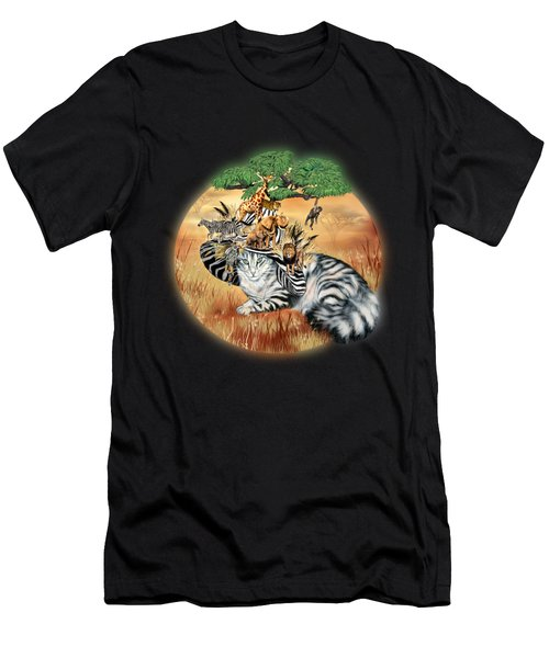 Cat In The Safari Hat Men's T-Shirt (Athletic Fit)