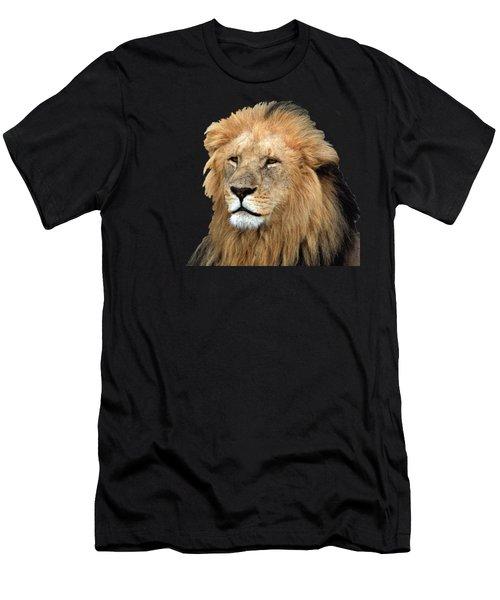 Men's T-Shirt (Athletic Fit) featuring the photograph Masai Mara Lion Portrait    by Aidan Moran