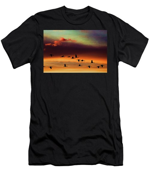 Sandhill Cranes Take The Sunset Flight Men's T-Shirt (Athletic Fit)