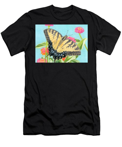 Swallowtail Butterfly And Zinnias Men's T-Shirt (Athletic Fit)