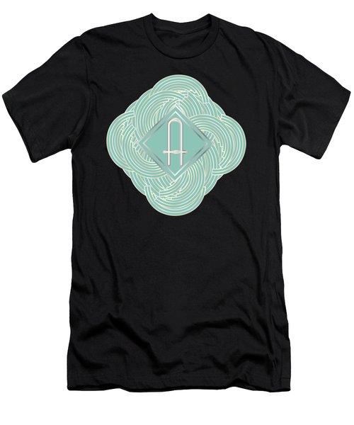 1920s Blue Deco Jazz Swing Monogram ...letter A Men's T-Shirt (Athletic Fit)