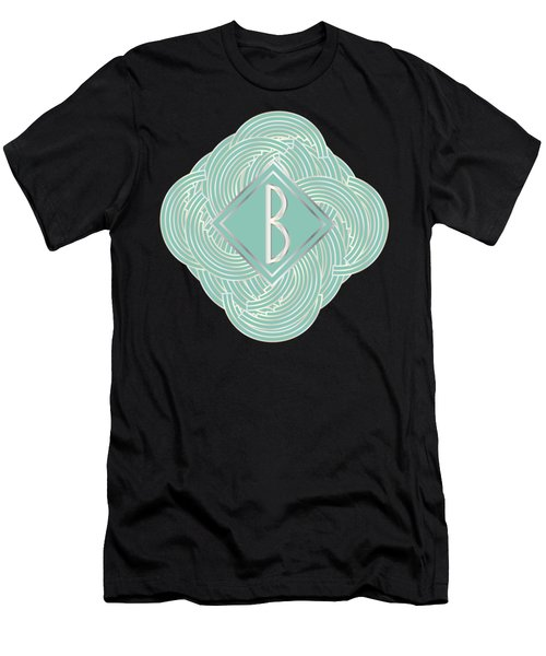 1920s Blue Deco Jazz Swing Monogram ...letter B Men's T-Shirt (Slim Fit) by Cecely Bloom