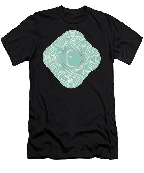 1920s Blue Deco Jazz Swing Monogram ...letter E Men's T-Shirt (Slim Fit) by Cecely Bloom