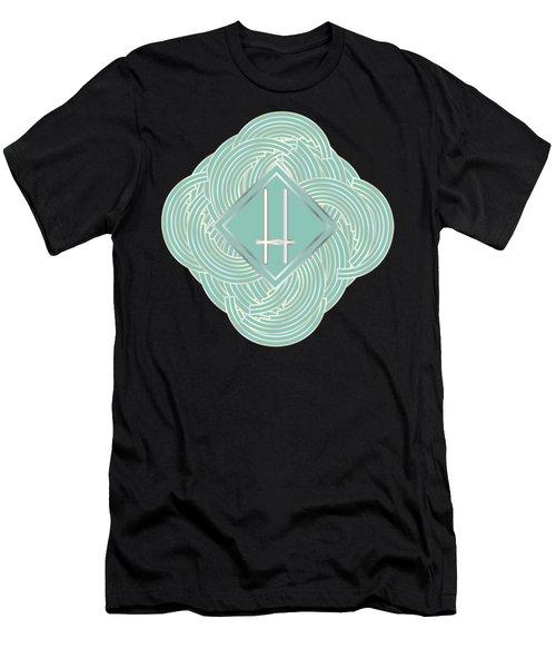 1920s Blue Deco Jazz Swing Monogram ...letter H Men's T-Shirt (Athletic Fit)
