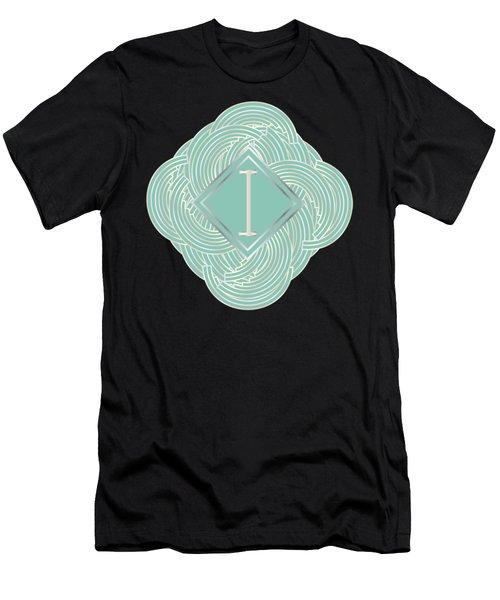 1920s Blue Deco Jazz Swing Monogram ...letter I Men's T-Shirt (Slim Fit) by Cecely Bloom