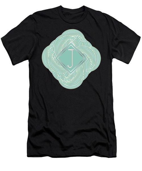 1920s Blue Deco Jazz Swing Monogram ...letter J Men's T-Shirt (Slim Fit) by Cecely Bloom
