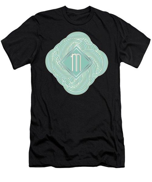 1920s Blue Deco Jazz Swing Monogram ...letter M Men's T-Shirt (Slim Fit) by Cecely Bloom