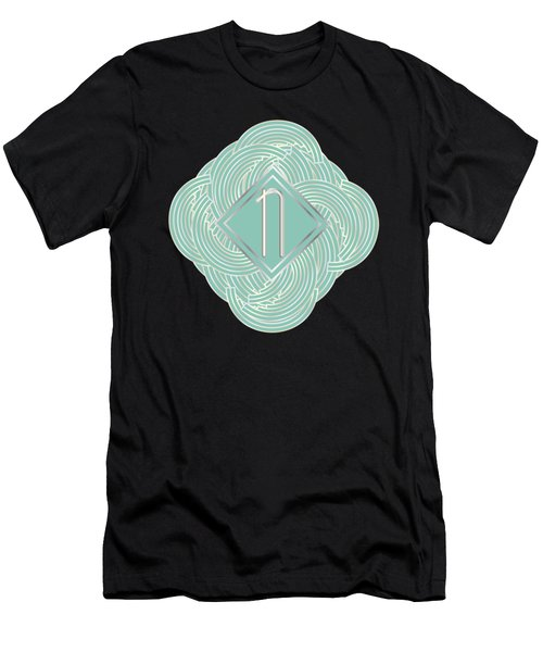 1920s Blue Deco Jazz Swing Monogram ...letter N Men's T-Shirt (Slim Fit) by Cecely Bloom