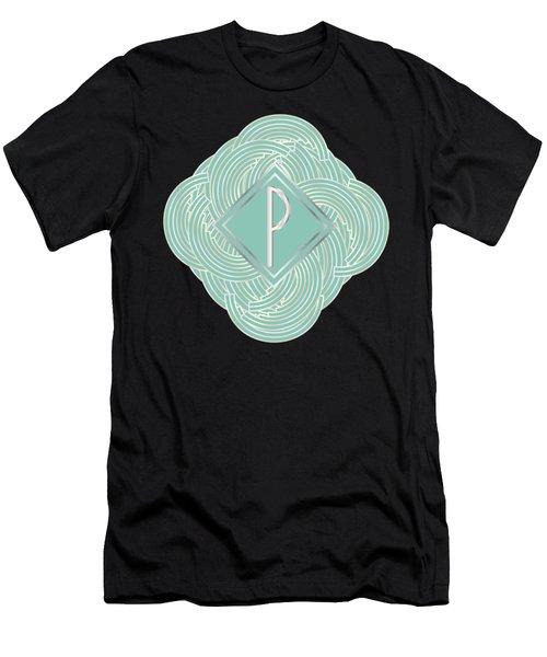 1920s Blue Deco Jazz Swing Monogram ...letter P Men's T-Shirt (Athletic Fit)