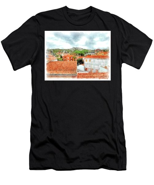 Arzachena Urban Landscape With Mountain Men's T-Shirt (Athletic Fit)