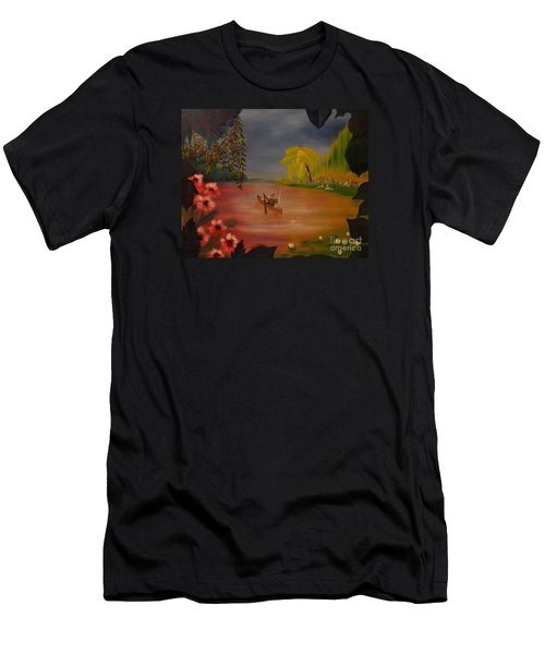 Men's T-Shirt (Athletic Fit) featuring the painting Asian Lillies by Denise Tomasura