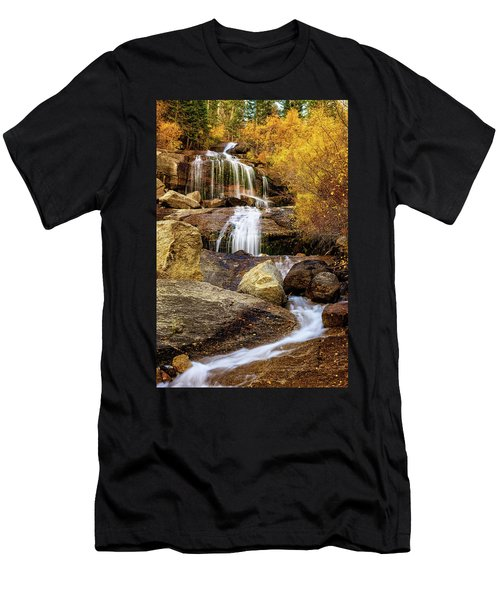 Men's T-Shirt (Athletic Fit) featuring the photograph Aspen-lined Waterfalls by John Hight