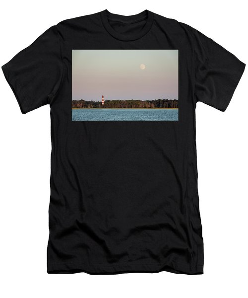 Assateague Light And The Full Moon Men's T-Shirt (Athletic Fit)