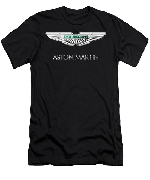 Aston Martin 3 D Badge On Black  Men's T-Shirt (Slim Fit) by Serge Averbukh