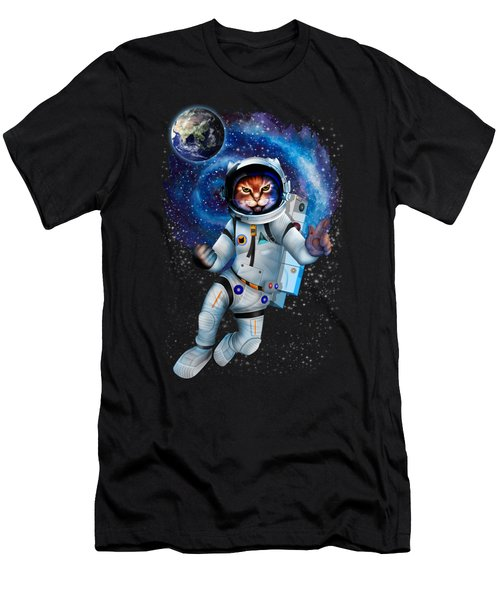 Astronaut Cat Men's T-Shirt (Athletic Fit)