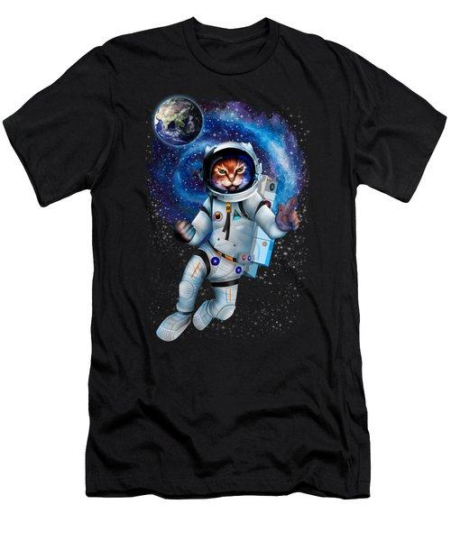 Astronaut Cat Men's T-Shirt (Athletic Fit)