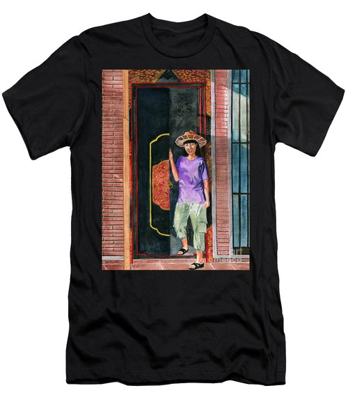Men's T-Shirt (Slim Fit) featuring the painting At Puri Kelapa by Melly Terpening