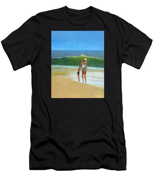 Men's T-Shirt (Athletic Fit) featuring the painting At The Beach by Mel Greifinger