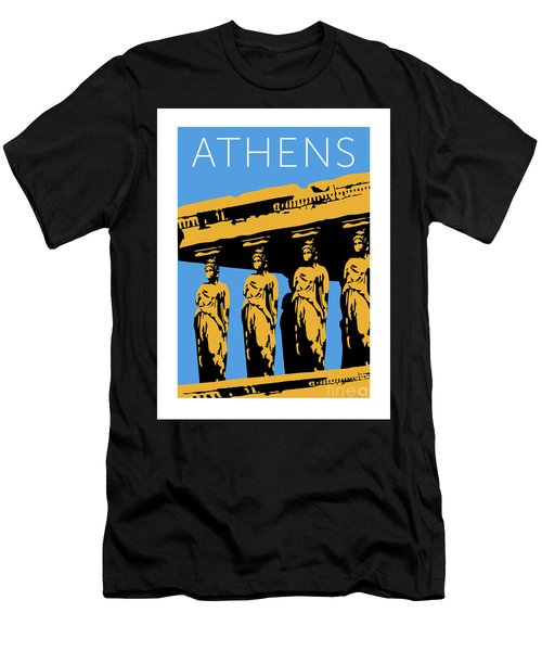 Men's T-Shirt (Athletic Fit) featuring the digital art Athens Erechtheum Blue by Sam Brennan