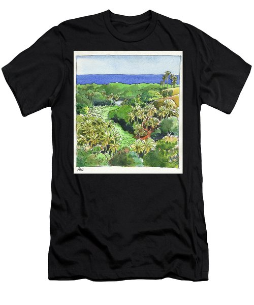 Men's T-Shirt (Athletic Fit) featuring the painting Atiu Lake View by Judith Kunzle