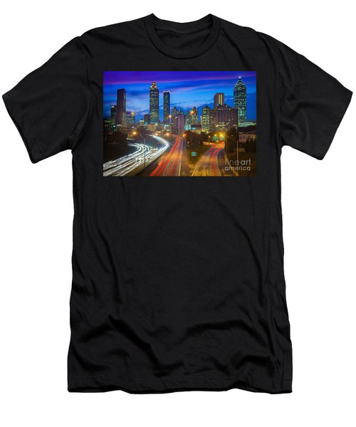 Atlanta Downtown By Night Men's T-Shirt (Athletic Fit)