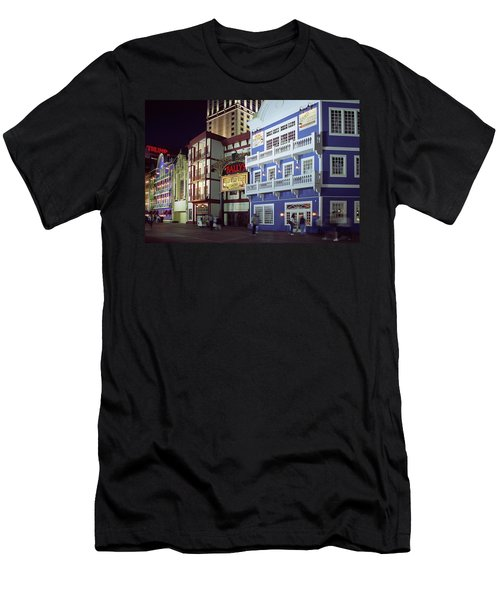 Men's T-Shirt (Slim Fit) featuring the photograph Atlantic City Boardwalk At Night by Sally Weigand