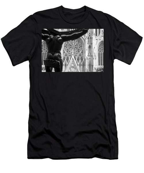 Atlas And St. Patrick's Cathedral Men's T-Shirt (Slim Fit) by Michael Dorn