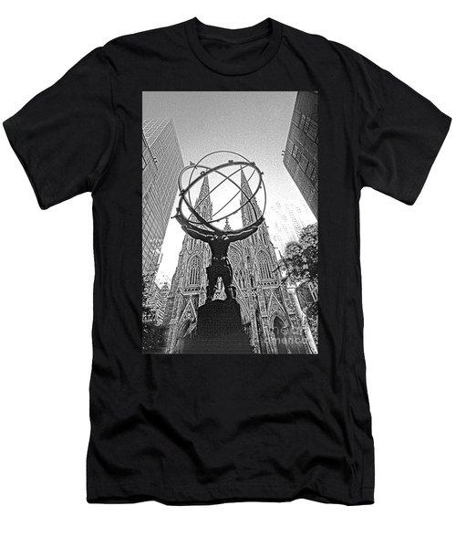 Atlas Rockefeller Center Nyc Men's T-Shirt (Athletic Fit)