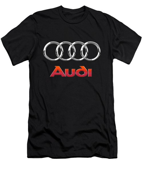 Audi 3 D Badge On Black Men's T-Shirt (Slim Fit) by Serge Averbukh