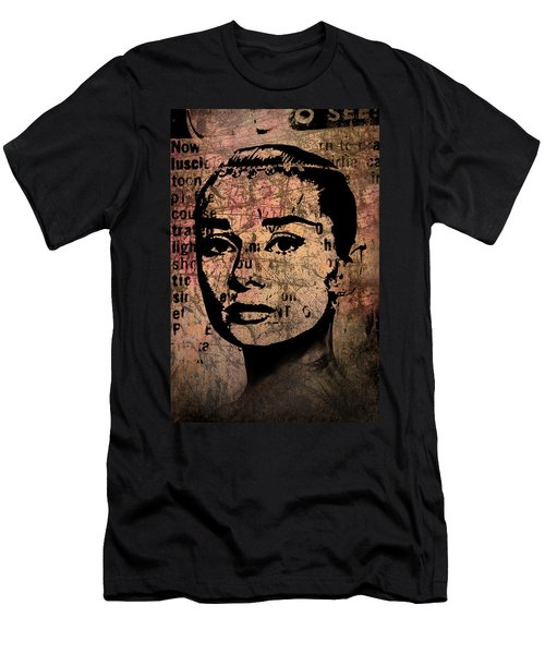 Men's T-Shirt (Slim Fit) featuring the mixed media Audrey Hepburn #7 by Kim Gauge