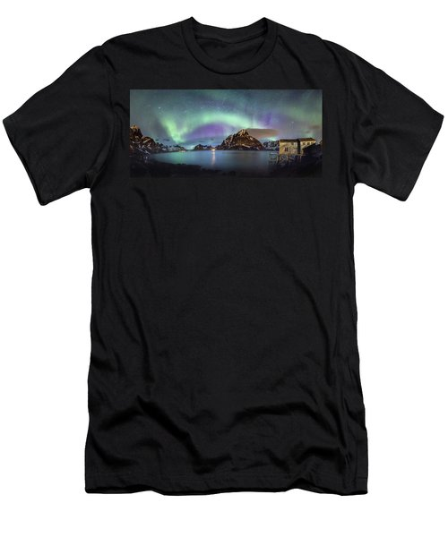 Aurora Above Reinefjord Men's T-Shirt (Athletic Fit)
