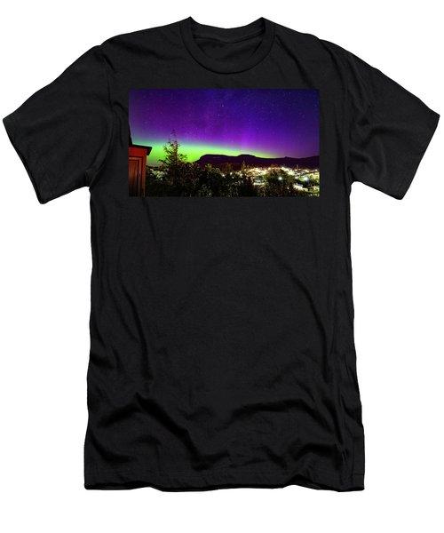Men's T-Shirt (Slim Fit) featuring the photograph Aurora Over Mt Wellington, Hobart by Odille Esmonde-Morgan
