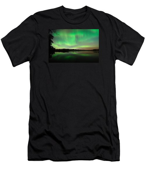 Aurora Over Tofte Lake Men's T-Shirt (Slim Fit) by Larry Ricker