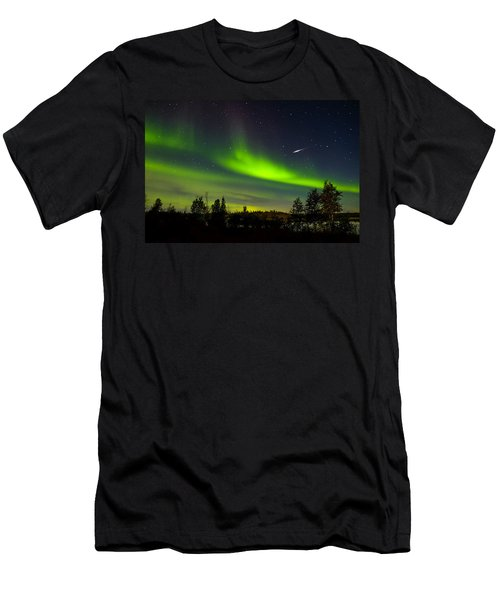 Aurora With Meteor  Men's T-Shirt (Athletic Fit)