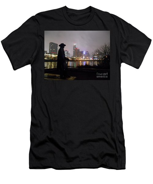Austin Hike And Bike Trail - Iconic Austin Statue Stevie Ray Vaughn - One Men's T-Shirt (Slim Fit) by Felipe Adan Lerma