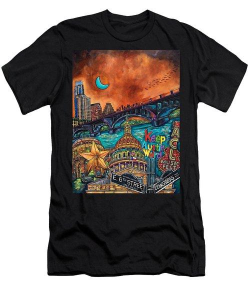 Men's T-Shirt (Slim Fit) featuring the painting Austin Keeping It Weird by Patti Schermerhorn