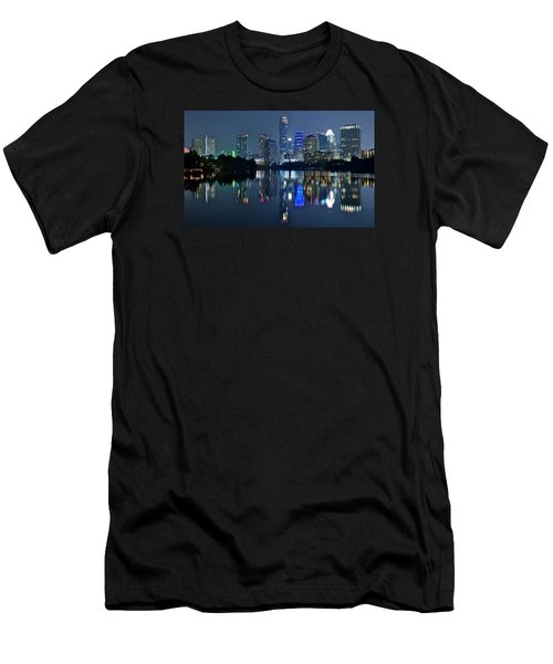 Austin Night Reflection Men's T-Shirt (Slim Fit) by Frozen in Time Fine Art Photography