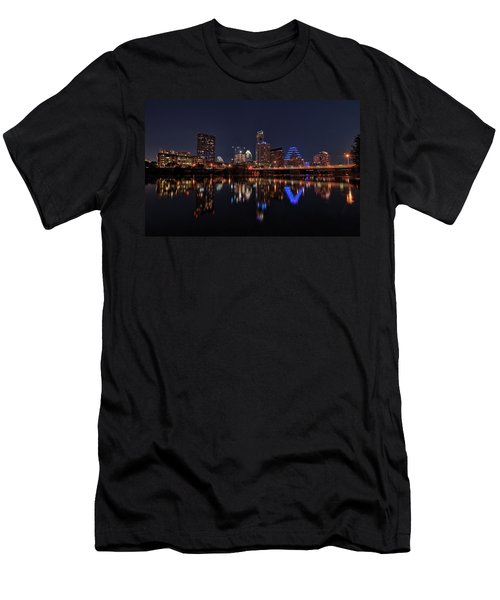 Austin Skyline At Night Men's T-Shirt (Athletic Fit)
