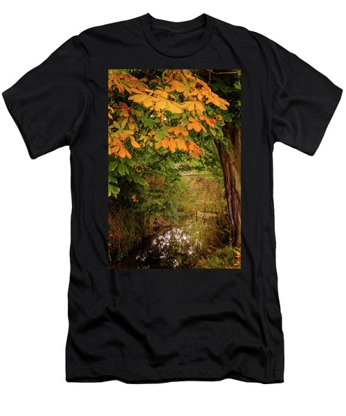 Men's T-Shirt (Athletic Fit) featuring the photograph Autumn Along The Bog Burn by RKAB Works