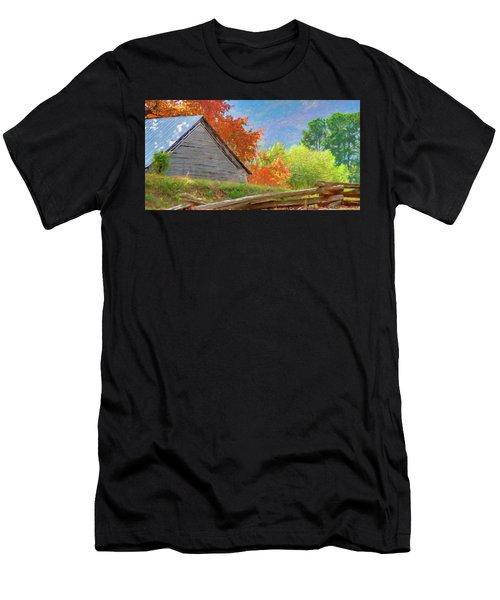Autumn Barn Digital Watercolor Men's T-Shirt (Athletic Fit)
