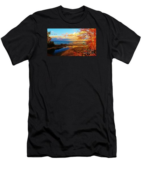 Men's T-Shirt (Slim Fit) featuring the photograph Autumn Beauty Lake Ontario Ny by Judy Via-Wolff