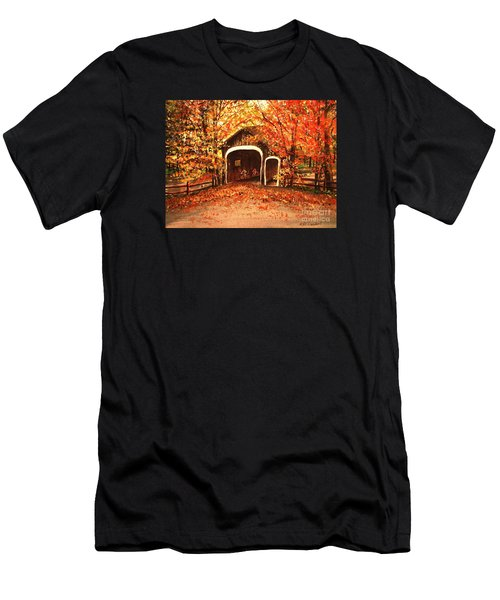 Men's T-Shirt (Slim Fit) featuring the painting Autumn Bike Ride by Patricia L Davidson