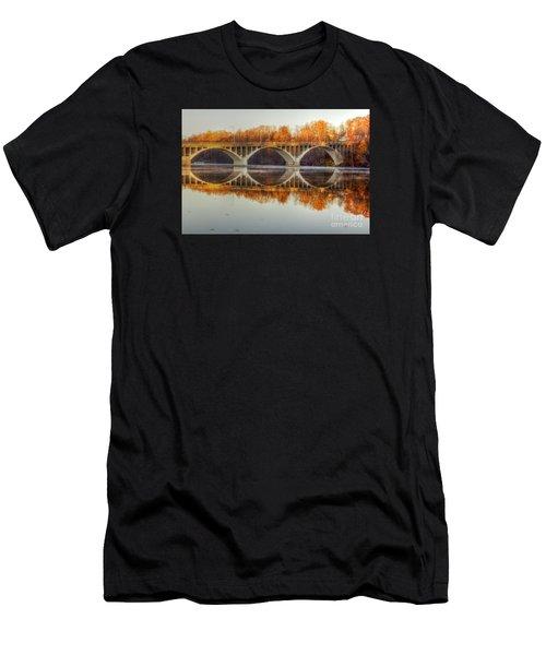 Autumn Bridge Reflections Men's T-Shirt (Athletic Fit)