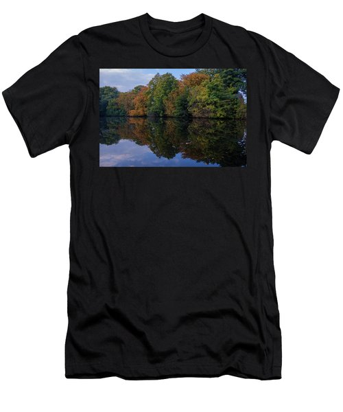 Men's T-Shirt (Athletic Fit) featuring the photograph Autumn By The Pond by RKAB Works
