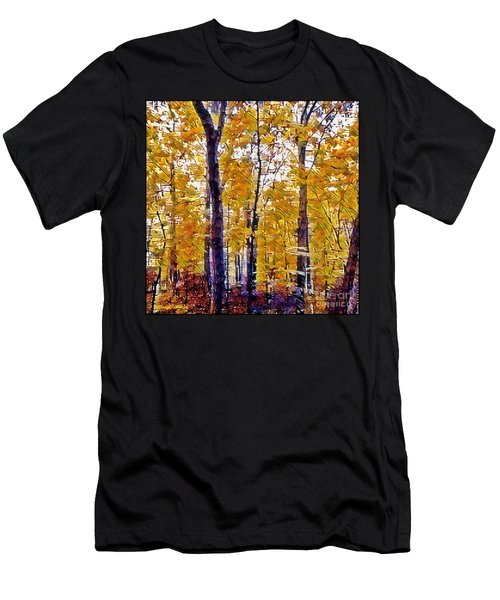 Autumn  Day In The Woods Men's T-Shirt (Slim Fit) by MaryLee Parker