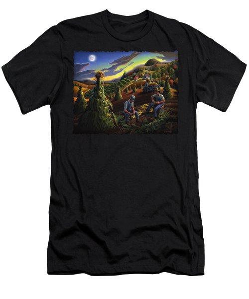 Autumn Farmers Shucking Corn Appalachian Rural Farm Country Harvesting Landscape - Harvest Folk Art Men's T-Shirt (Slim Fit) by Walt Curlee